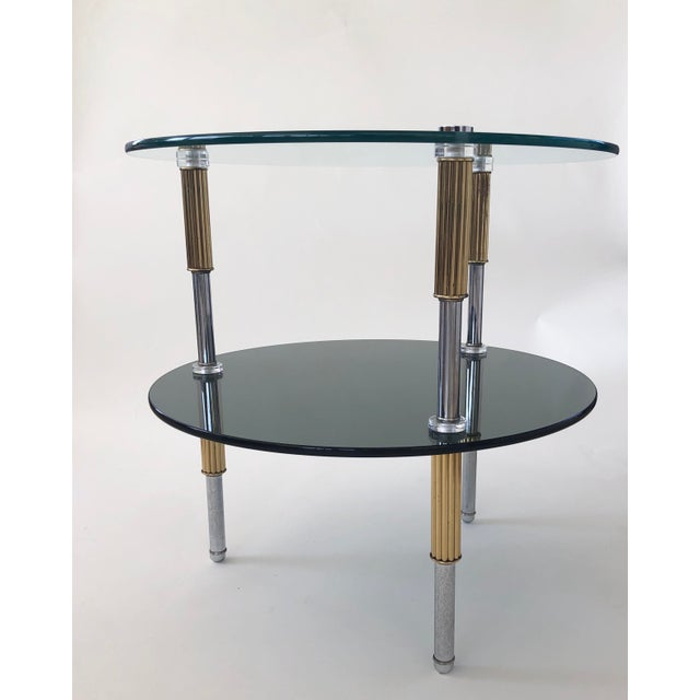 Mid Century 2-Tiered Glass, Brass, and Stainless Steel Side Table For Sale In Los Angeles - Image 6 of 6