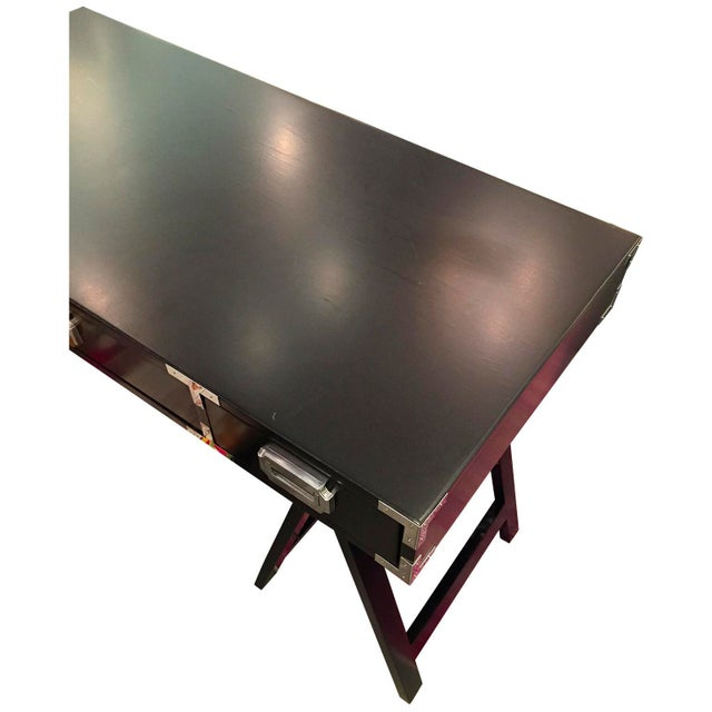 Mid Century Modern Lacquered Black Campaign Desk with Chrome and Brass Hardware - Image 5 of 9