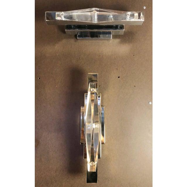 Metal Fabio Ltd Crystal Chrome Sconces / Flush Mounts (Pair Available) For Sale - Image 7 of 8