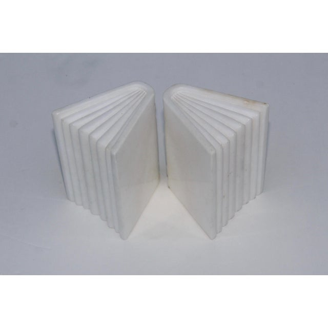 1950s Italian Carrara Marble Bookends For Sale - Image 4 of 10