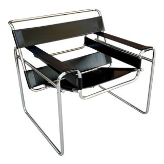 Wassily Style Leather Chair in the Manor of Marcel Breuer For Sale