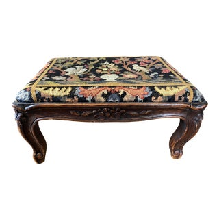 Antique French Walnut Art Nouveau Needlepoint Footstool For Sale