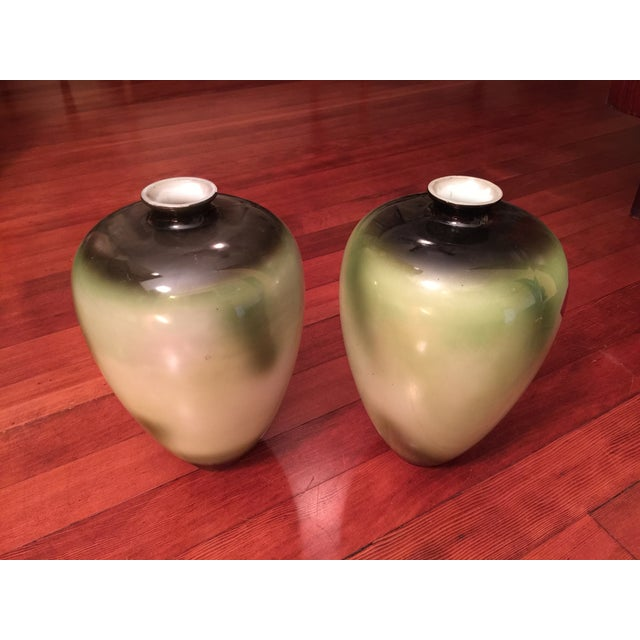 Vintage Porcelain Vases, Green With Roses - a Pair - Image 4 of 6