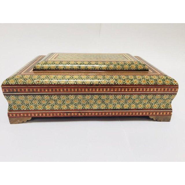 Large Persian Jewelry Mosaic Khatam Inlaid Box For Sale - Image 13 of 13