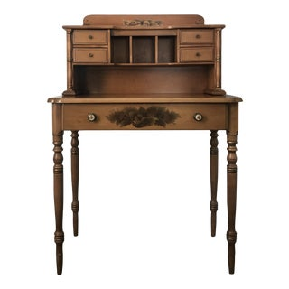 20th Century Early American L Hitchcock Hand Stenciled Writing Desk and Hutch For Sale