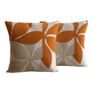 Judy Ross Floral Throw Pillows - a Pair For Sale