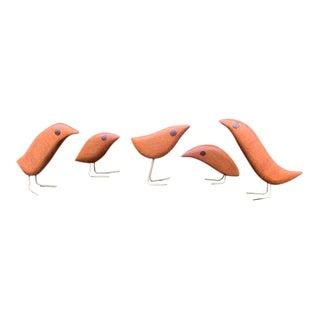 Jacob Hermann Style Mahogany Bird Figurines - Set of 5 For Sale
