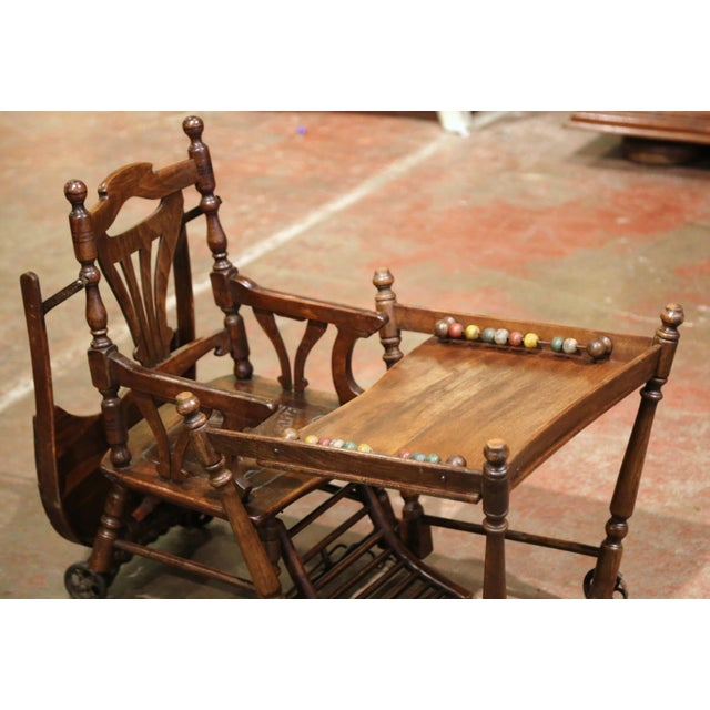 Mid-20th Century French Carved Folding Up and Down Child High Chair on Wheels For Sale - Image 10 of 13