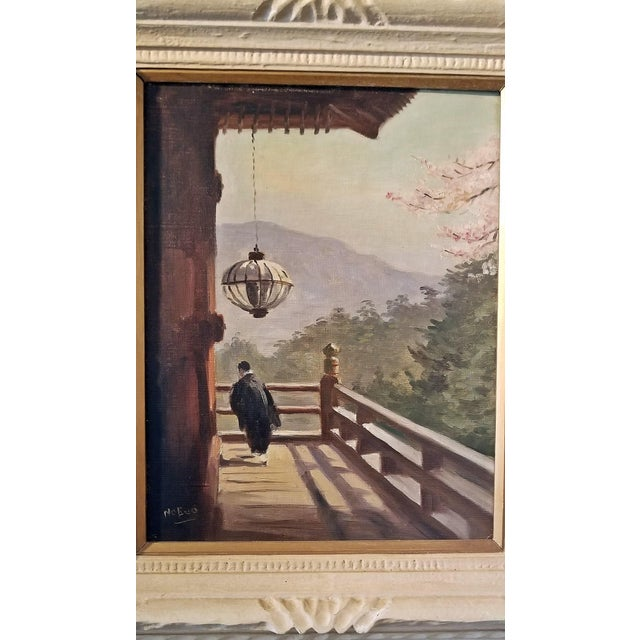 Mid 20th Century Hiyashi NoBuo Oil on Canvas - Cherry Blossom Deck For Sale - Image 5 of 6
