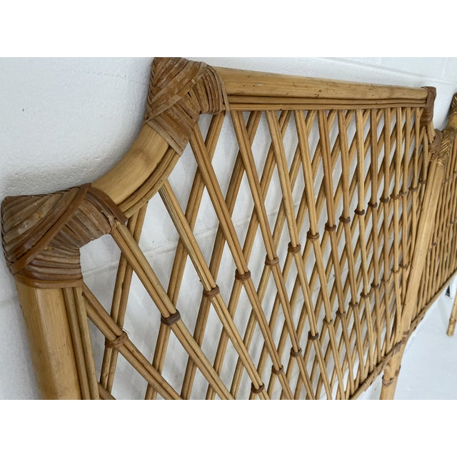 Wood Vintage Rattan Headboards- a Pair For Sale - Image 7 of 13
