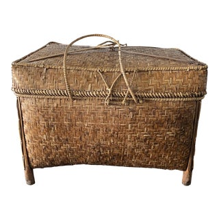 Antique Asian Woven Bamboo Storage - Rice Chest For Sale