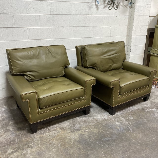 Swaim Olive Leather Club Chairs - a Pair For Sale - Image 13 of 13