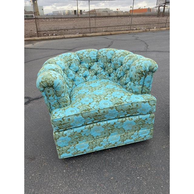 Vintage Floral Chesterfield Arm Chair For Sale - Image 9 of 9