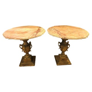 French Hollywood Regency Urn Base Twin Handled Giltwood End or Side Tables, Pair For Sale
