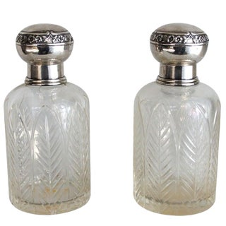 Pair of Henri Lapeyre Petite Crystal and Sterling .950 Decanters For Sale