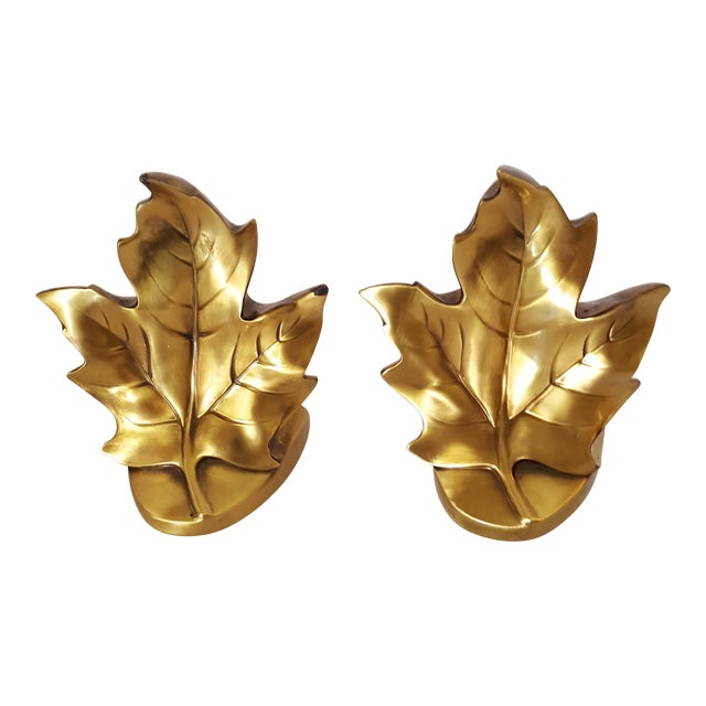 Brass Maple Leave Bookends - a Pair For Sale