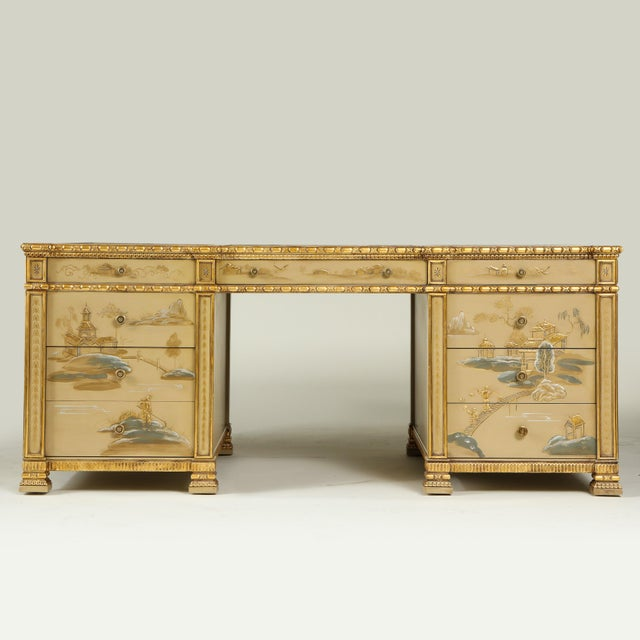 Chinoiserie Chinoiserie Hand-Painted Parcel Gilt Partners Pedestal Desk For Sale - Image 3 of 12