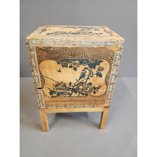 Early 20th Century Antique Japanese Tea Crate on Stand Side Table For Sale - Image 5 of 13