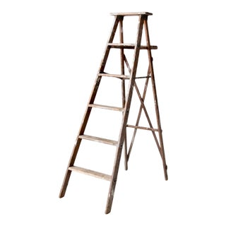 Vintage Wooden Painter's Folding Ladder For Sale