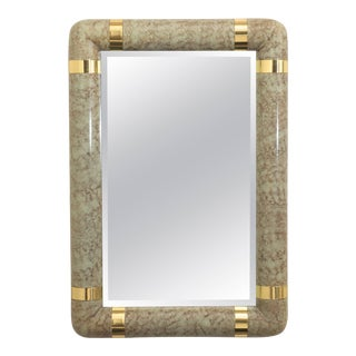 Karl Springer Style Faux Parchment and Brass Mirror For Sale