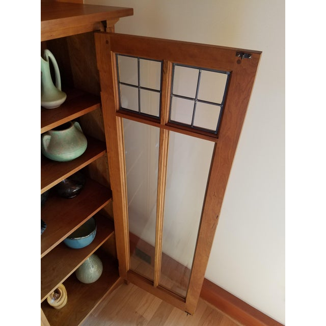 Cherry Wood Stickley Cherry Leaded Glass Double Door Bookcase For Sale - Image 7 of 13