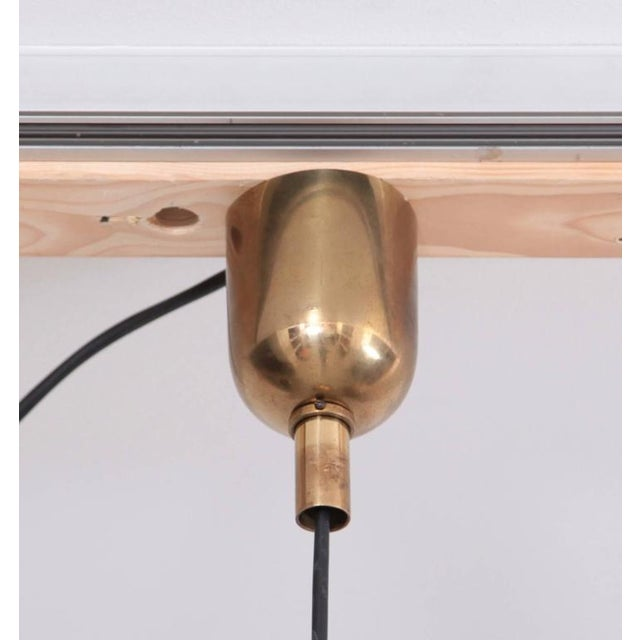 Gold Huge Brass Pendant Lamp from 1960s Italy with White Enamel Inner Shade For Sale - Image 8 of 9