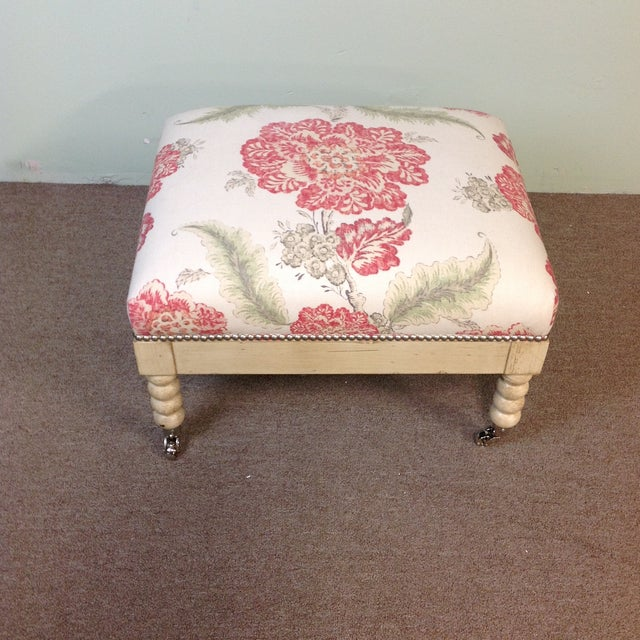 Textile Lillian August Tufted Upholstered Floral Ottoman For Sale - Image 7 of 7