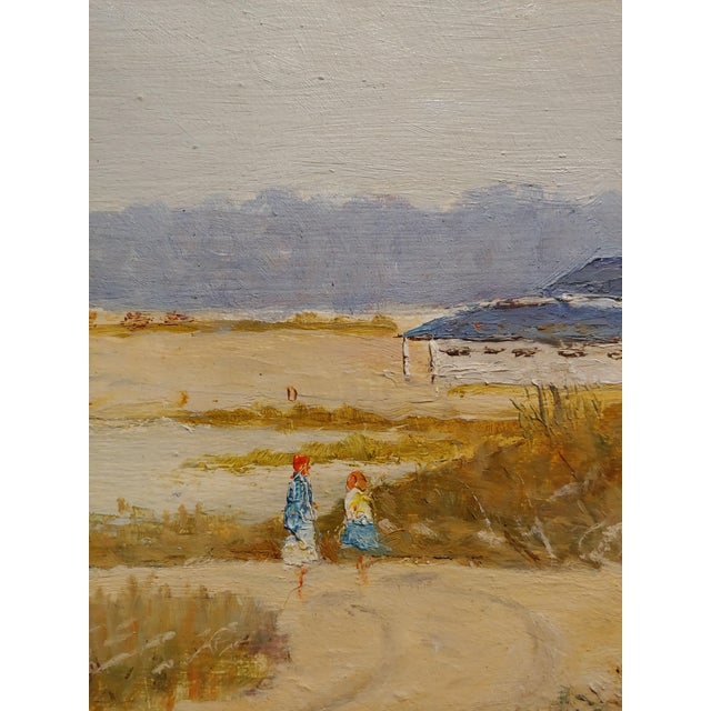 1950s Ralph Arthur Lyle -Walking Trail on a California Beach Landscape -Oil Painting For Sale - Image 5 of 9