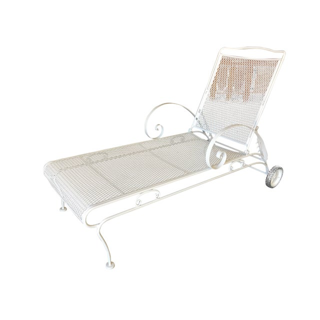 Metal Iron Mesh Outdoor / Patio Chaise Lounge by Woodard For Sale - Image 7 of 7