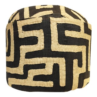 """Custom Made Lg Round Kuba Textile Ottoman 17"""" H by 18"""" D For Sale"""