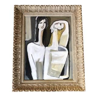 Original Contemporary Steward Ross 2 Female Figures Modernist Painting For Sale