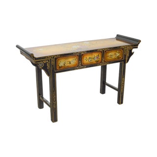 Hand Painted Lacquered Asian Style Pagoda Top Console W Drawers For Sale