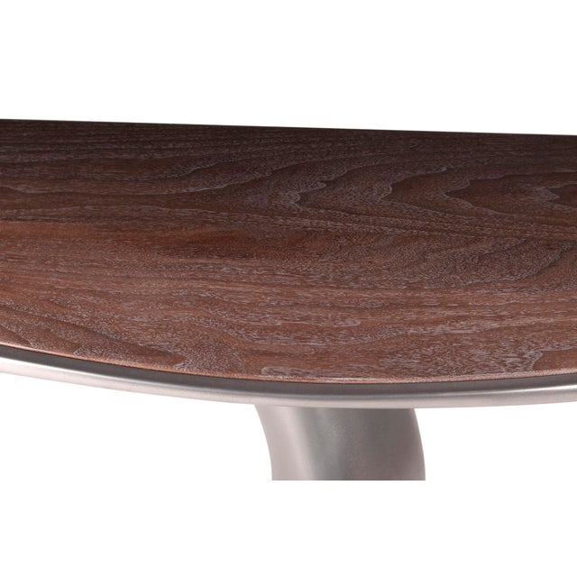 Gray Haya Console -Stainless Steel With Antique Gray Walnut Top For Sale - Image 8 of 9