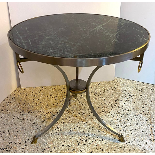 Mid-Century Maison Jansen Attributed Louis XVI Style Gueridon Side Table in Steel, Brass and Verdigreen Marble For Sale - Image 13 of 13