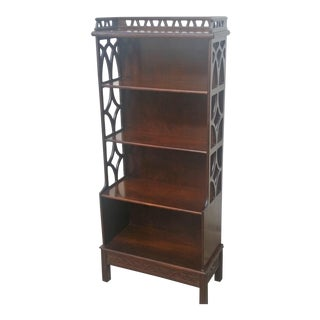 20th Century Chinese Chippendale Tall Narrow Shelf Display Bookcase For Sale