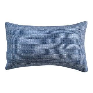 Contemporary FirmaMenta Navy Blue Herringbone Wool Lumbar Pillow For Sale
