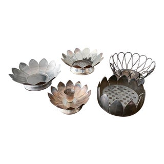 Collection of 5 Silver Finish Flowers For Sale