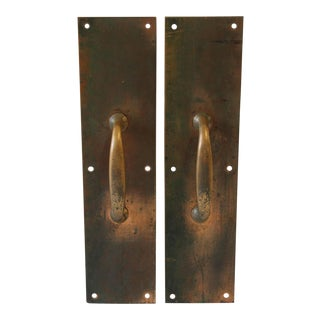 Antique Copper & Brass Entry Door Pull Hardware For Sale