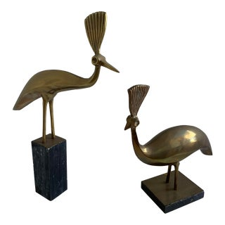 1970s Hollywood Regency Brass Birds With Black Marble Bases - a Pair For Sale