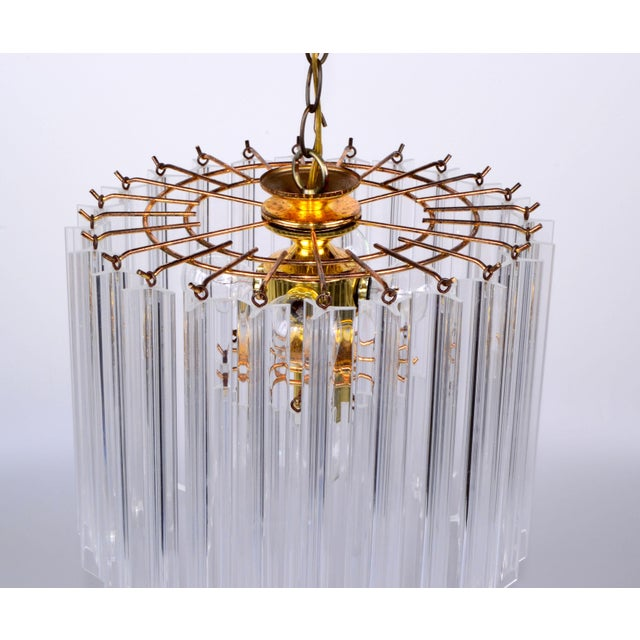 Vintage 5 Light Brass and Lucite Chandelier with Canopy For Sale - Image 5 of 10