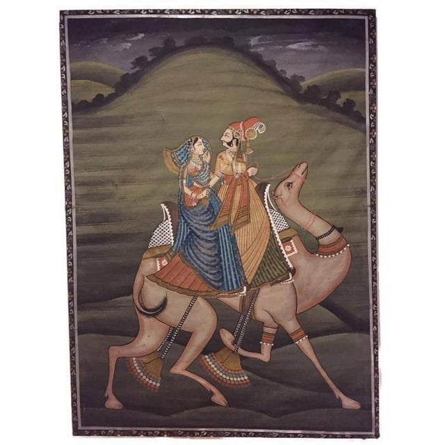 """Fabric Mid Century Modern India Silk Painting Camel Ride - 45"""" For Sale - Image 7 of 11"""