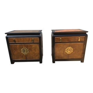 1970's Century Furniture Burl Wood Chinoiserie Nightstands - a Pair For Sale