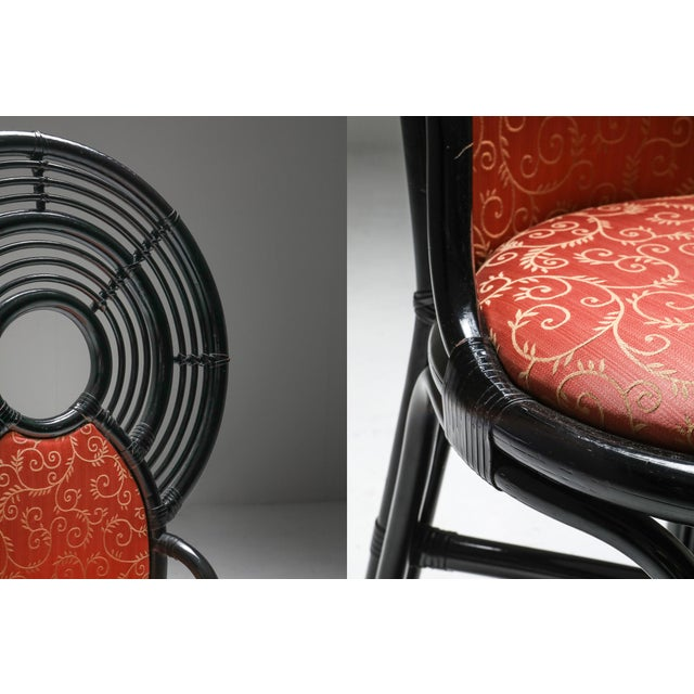 Bamboo Set of Chairs From Italy With Oriental Influences - 1970's For Sale - Image 6 of 7