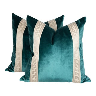 Teal Silk Velvet Greek Key Pillows, a Pair For Sale