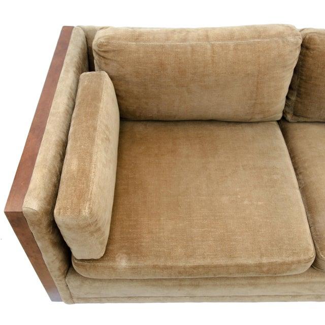 Milo Baughman Style Burl Wood Sofa For Sale In Savannah - Image 6 of 11
