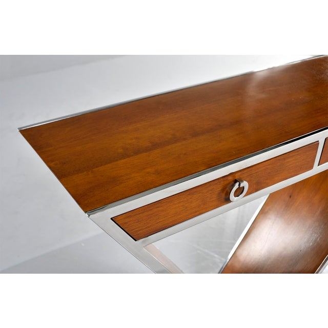 Brazilian Teak and Chrome Console With Triangular Base For Sale - Image 4 of 13