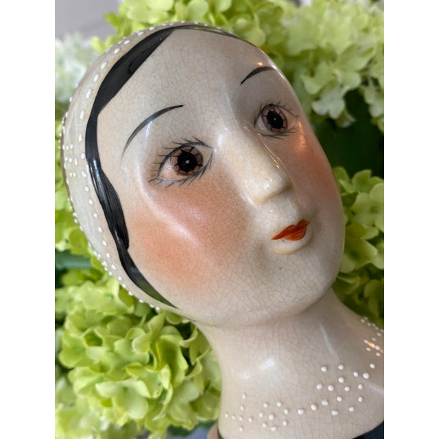 Antique White Vintage Hand Painted Flapper Girl of the Roaring 1920's For Sale - Image 8 of 9