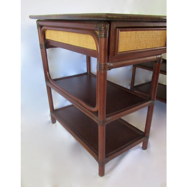 1970s 1970s British Colonial-Style Rattan Tobacco Leaf Top Writing Desk For Sale - Image 5 of 13