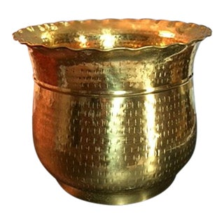 Late 20th Century Vintage Hammered Brass Planter For Sale