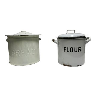 "Edwardian, Pantry Storage Containers Marked ""Bread"" and ""Flour"" For Sale"